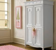 226-0018 Isabella Armoire (326-0018) - Isabella is elegant, practical and sweet with decorative garlands and carved feet. An Armoire is a free-standing closet with two doors. Open it up to discover many favorable traits: two tray drawers, a clothing rod, a cork board, and a half length mirror.