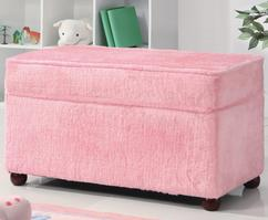 460451 Pink Fuzzy Storage Bench