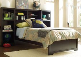 BED-5553 Newberry Bookcase Bed - The Newberry Bookcase Bed gets the prize for its winning, reader-friendly design. Picture books, graphic novels, fairy tales, bestsellers, a Nook or Kindle too. Curling up comfortably with a favorite book is what it's all about - with plenty of space left