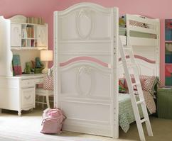 226-7300 Isabella Bunk Bed (BNK-7300) - Isabella is elegant, practical and sweet. The Bunk Bed features cameo shapes as decorative overlays and carved feet to give a girl's bunk room old world charm.