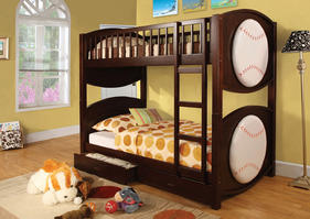 CM-BK065-BSBL-T Olympic IV Collection Twin over Twin Baseball Bunk Bed