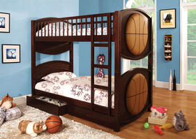 CM-BK065-BSKT-T Olympic IV Collection Twin over Twin Basketball Bunk Bed