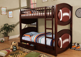 CM-BK065-FBLL-T Olympic IV Collection Twin over Twin Football Bunk Bed