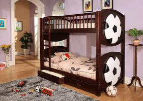 CM-BK065-SCCR-T Olympic IV Collection Twin over Twin Soccer Bunk Bed