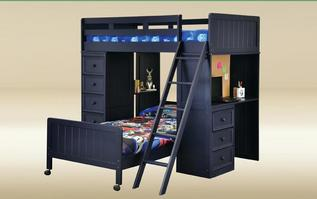 DLB-D-C-BB-BLUE Twin Loft Bed with Chest and Desk w/Corkboard in Blue  - L80