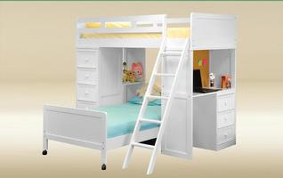 DLB-D-C-BB-W Twin Loft Bed with Chest and Desk w/Corkboard in White  - L80