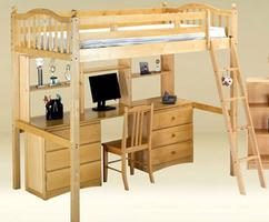 HCLF-B Full Loft Bed with Hutch and two 3 Drawer Desk