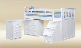 JLB-S-BB-W Junior Loft Bed with Pull-Out Desk and Step Drawers in White by Good Trading Co. - H50