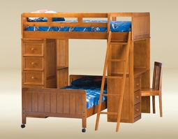 LBDC-BB-P Loft Bed in Pecan  - L80