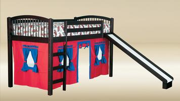 TL010-WA Twin Size Loft Bed (Slide Not Included) in Walnut  - Bed Only: W41
